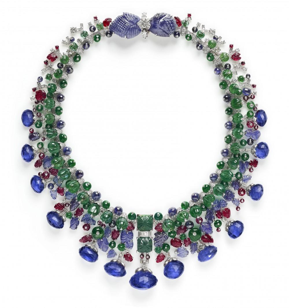 1936/63年水果錦囊項鍊鉑金、黃金、鑽石、藍寶石、祖母綠、紅寶石
