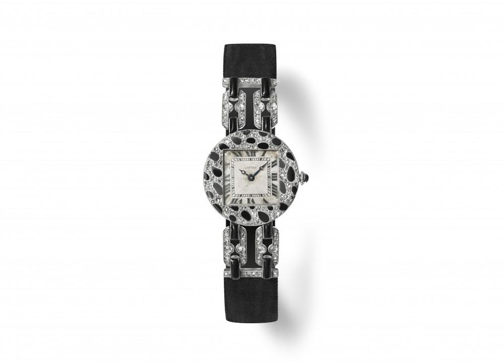 1914年美洲豹系列腕錶鉑金、玫瑰金、鑽石、縞瑪瑙、莫列波紋錶帶
