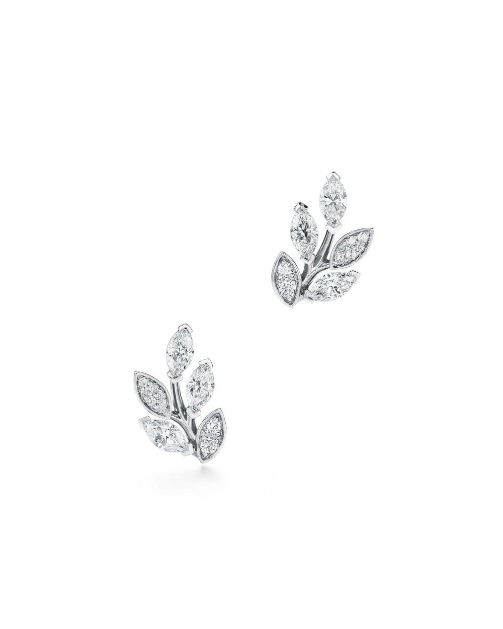 4. Tiffany Victoria® diamond vine climber earrings in platinum with diamonds_HKD 93,000