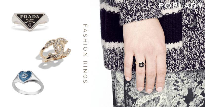名牌Logo戒指讓指尖散發著高級奢華感 ,今夏流行精巧多層次的時尚配搭
