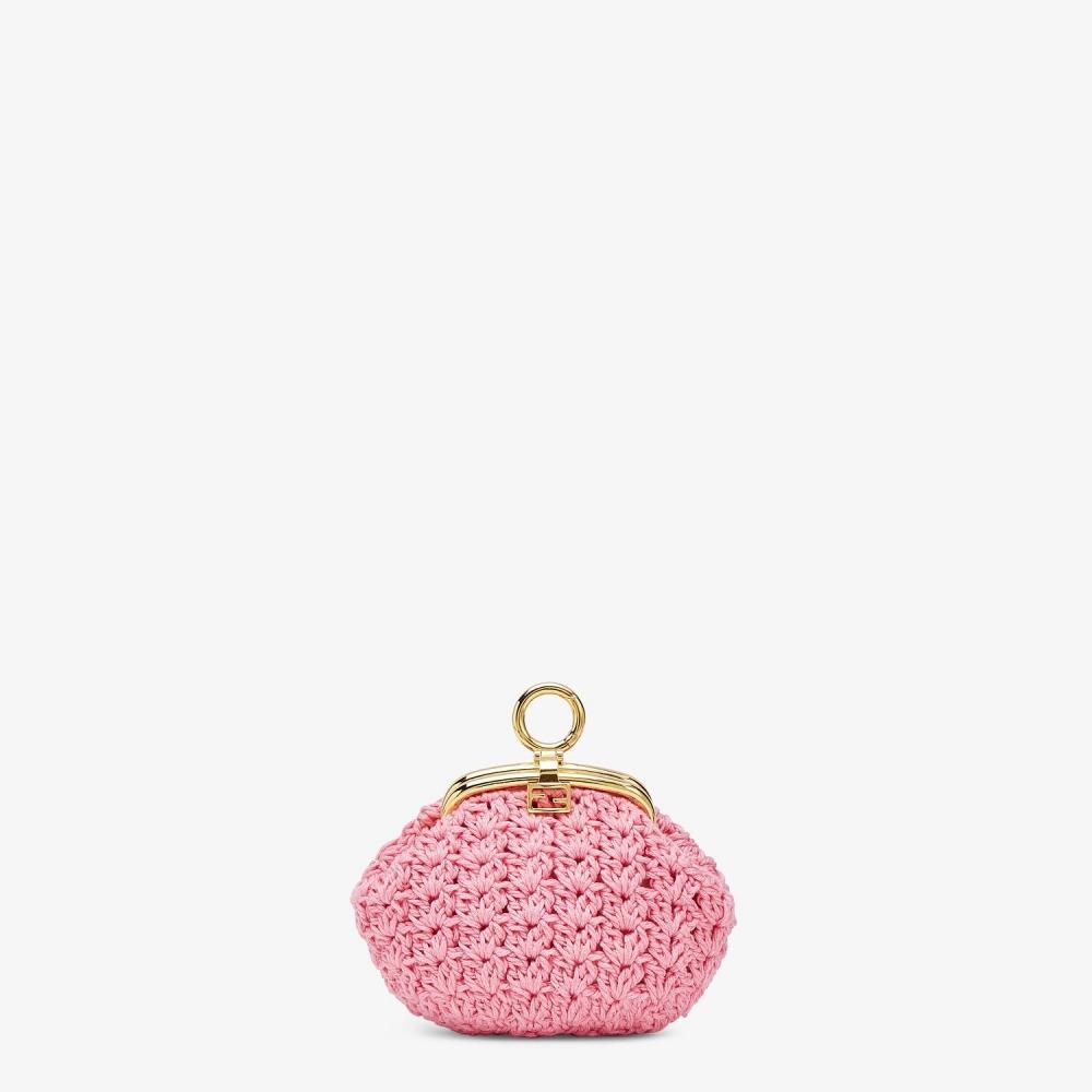 由複雜絕美的粉色鉤針花邊製成