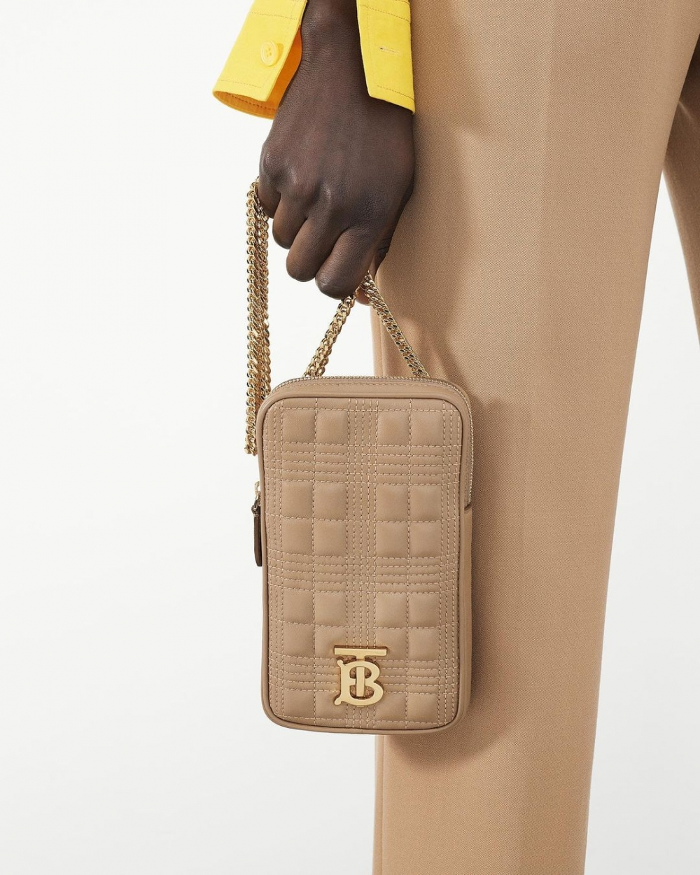 Burberry Quilted Lambskin Lola Pouch with Chain Strap
