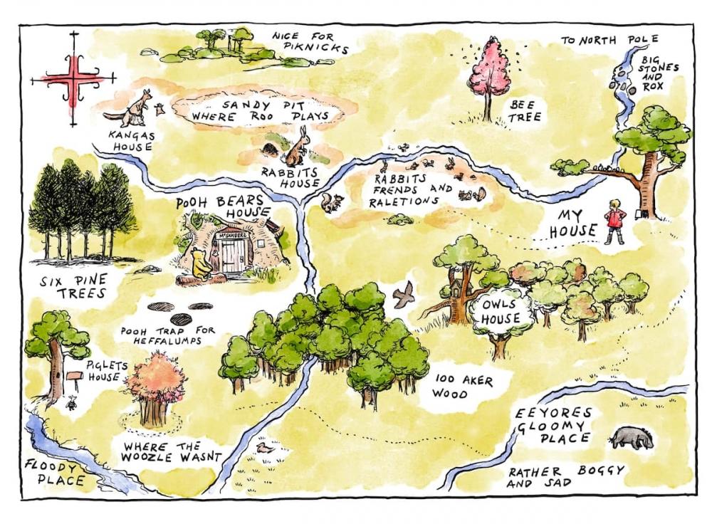 小熊維尼的百畝森林,跟朋友們一起遊玩的場景