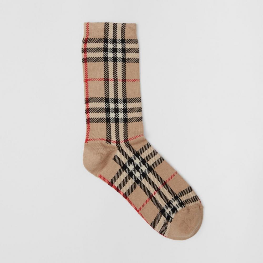 Burberry Vintage Check Intarsia Cotton Cashmere Blend Socks