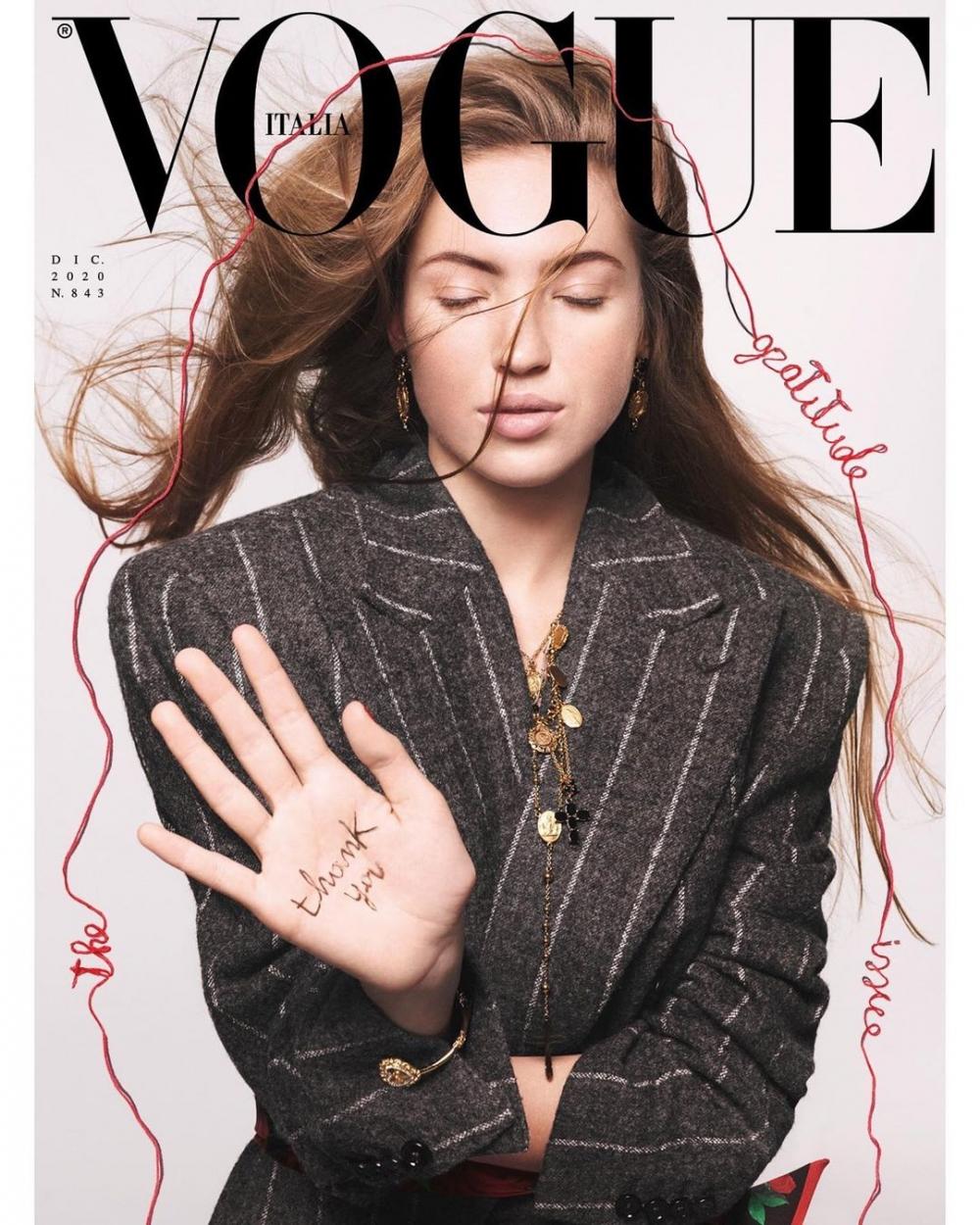 在2020年,Lila Moss也獨自登上義大利版《Vogue》12月封面